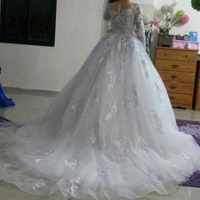 Gorgeous Long Sleeve Lace Princess Dress A-Line Tulle  Wedding Dress WE0011_5