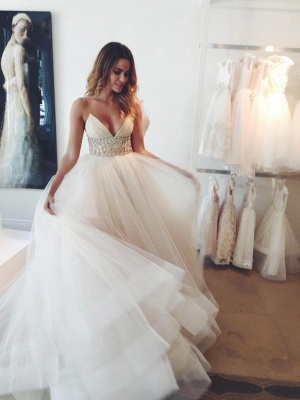 Spaghetti Strap Empire Bridal Dresses Crystal Tulle V-Neck Wedding Dress_1