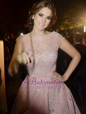 Pink Cap-Sleeve Diamonds Designer Charming Evening Dress_2