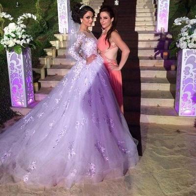 Gorgeous Long Sleeve Lace Princess Dress A-Line Tulle  Wedding Dress WE0011_4