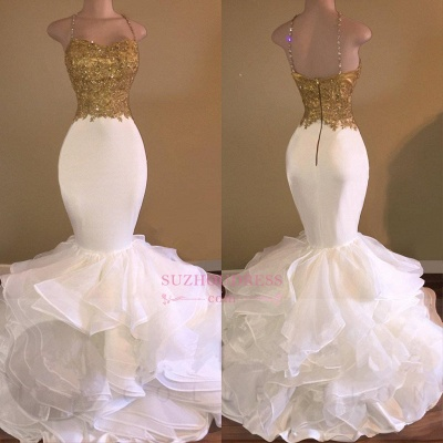 Ruffles Lace Appliques Sleeveless Evening Dress Spaghetti Strap Gold Beading Sexy Mermaid Prom Dress_3