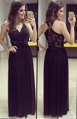 A-Line V-Neck Empire Black Prom Dress Halter Lace Crystal Floor Length Evening Gown_1