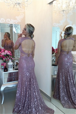 Sexy Sheer Neckline  Popular Prom Dresses Long Sleeve Backless Plus Size Formal Dress BMT013_2