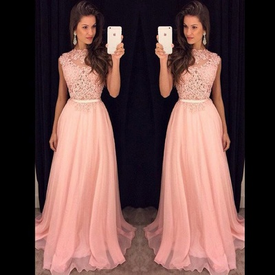 Lace Chiffon  New Prom Dresses Sleeveless A-line  Evening Gowns_3