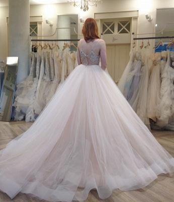 Spaghetti Strap Empire Bridal Dresses Crystal Tulle V-Neck Wedding Dress_4