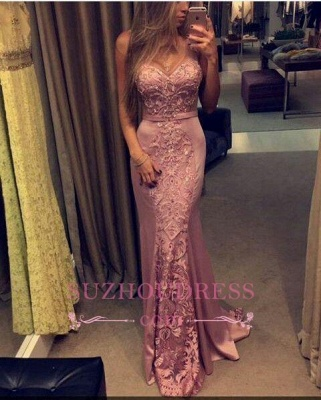 Lace-Appliques Pink Sleeveless Sweetheart-Neck Mermaid Evening Gowns_1