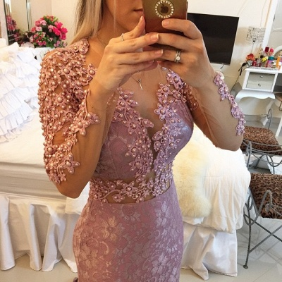 Sexy Sheer Neckline  Popular Prom Dresses Long Sleeve Backless Plus Size Formal Dress BMT013_3