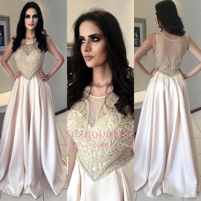 Champagne Pearls Sleeveless Prom Dress   Long Scoop A-Line Evening Dresses_1