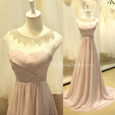 A Line Designer Chiffon Long Crystal Prom Dresses Simple Formal Inexpensive Ruffle Dresses for Junior_3