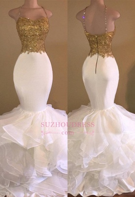 Ruffles Lace Appliques Sleeveless Evening Dress Spaghetti Strap Gold Beading Sexy Mermaid Prom Dress_2