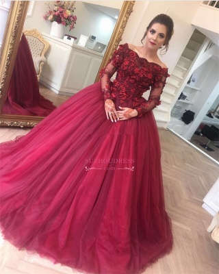 Burgundy Off-The-Shoulder Applique Evening Dresses  Long-Sleeves Tulle Ball Gown Prom Dresses BA7967_1