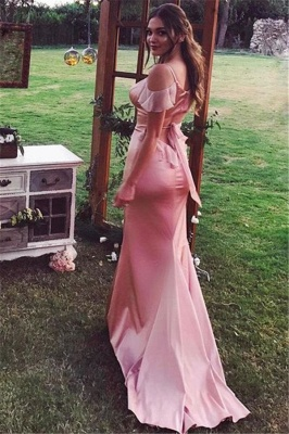 Spaghetti Straps Pink Sheath Bridesmaid Dresses Sexy  Formal Dresses_3