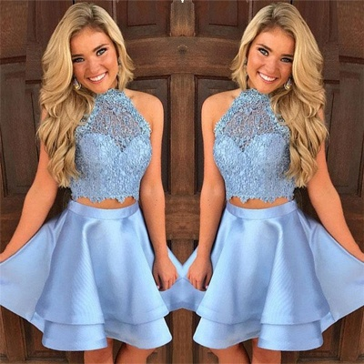 Baby Blue Two Piece Homecoming Dresses Lace  Short Online Hoco Dresses  BA9804_3