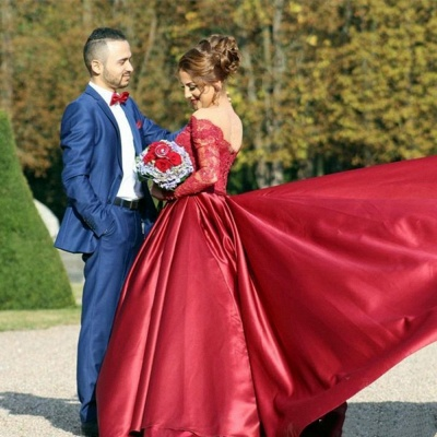Off The Shoulder Long Sleeve Evening Dresses Dark Red V-neck Pretty  Wedding Dresses_3