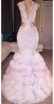 Lace Deep-V-neck Criss-cross Ruffles  Mermaid Sleeveless Appliques Prom Dress BA5316_2
