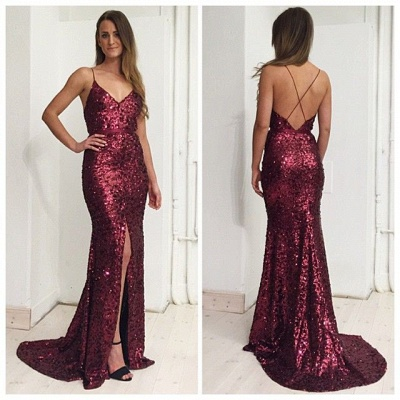 Burgundy Sequins Spaghetti Straps Evening Dress  Front Slit Open Back Prom Dress BA7712_1