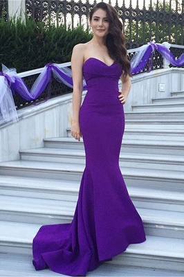 Purple Mermaid Sweetheart Prom Dress New Arrival Sweep Train Formal Occasion Dress_2