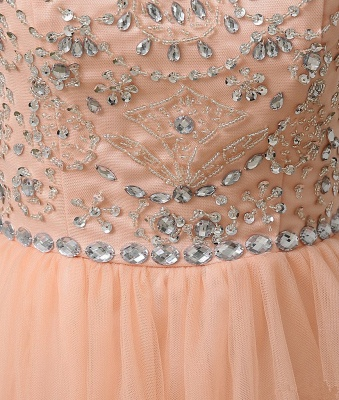 A-Line Cute Tulle Crystal Beading Short Homecoming Dress_3