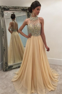 Sparkly Crystals Prom Dresses  Long Chiffon Hater Evening Gowns BA4580_5
