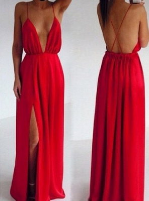 Red Prom Dresses  Spaghetti Straps Sleeveless Side Slit Chiffon Elegant Backless Charming Evening Gowns BO6889_3