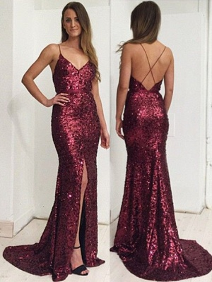 Burgundy Sequins Spaghetti Straps Evening Dress  Front Slit Open Back Prom Dress BA7712_3