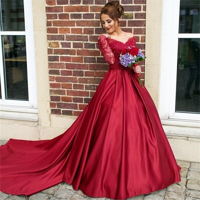 Off The Shoulder Long Sleeve Evening Dresses Dark Red V-neck Pretty  Wedding Dresses_5