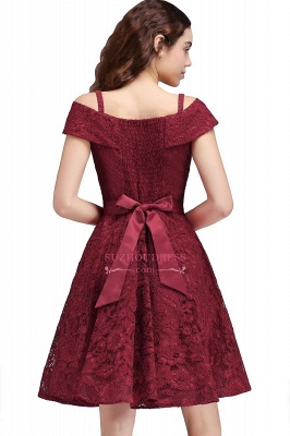 A-Line Lace Simple Burgundy Off-the-Shoulder Homecoming Dress_3