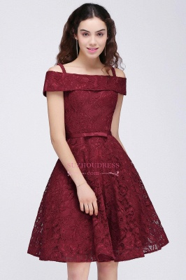 A-Line Lace Simple Burgundy Off-the-Shoulder Homecoming Dress_2