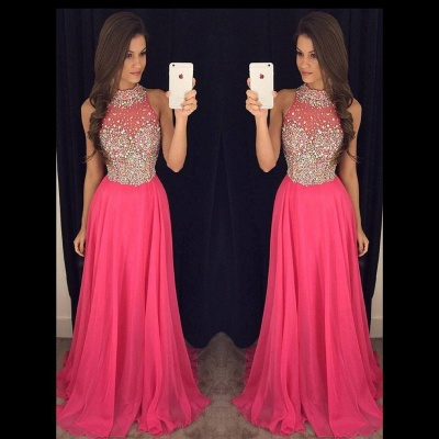 Sparkly Crystals Prom Dresses  Long Chiffon Hater Evening Gowns BA4580_1