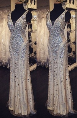 Luxurious Sheath Rhinestones Formal Occasion Dress New Floor Length Evening Gown_1