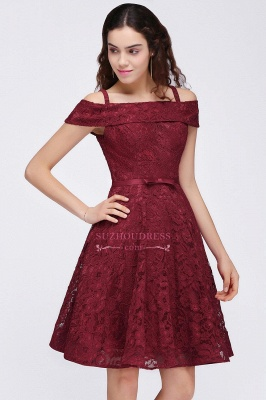 A-Line Lace Simple Burgundy Off-the-Shoulder Homecoming Dress_5