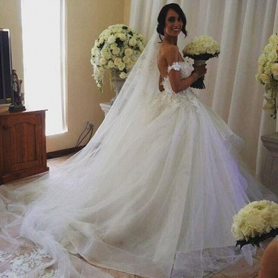 Charming Wedding Dresses  Off The Shoulder Tulle Appliques  Bridal Gowns_4