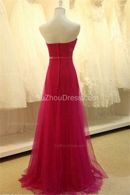 Elegant Sweetheart Applique Fushcia Tulle Dresses for Junior A Line BeautifuL Long Custom Prom Dresses with Flowers_2