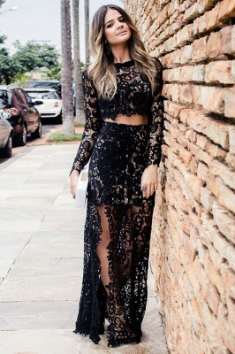 Two-Pieces Long-Sleeves Lace Prom Dress Sexy Slit Black Appliques Party Dresses On Sale_2