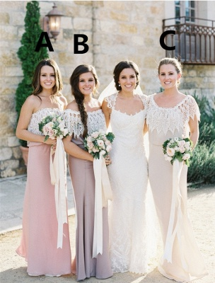 Simple Lace Open Back Floor Length Bridesmaid Dress New Arrival Sheath Wedding Party Dresses_1