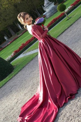 Off The Shoulder Long Sleeve Evening Dresses Dark Red V-neck Pretty  Wedding Dresses_4