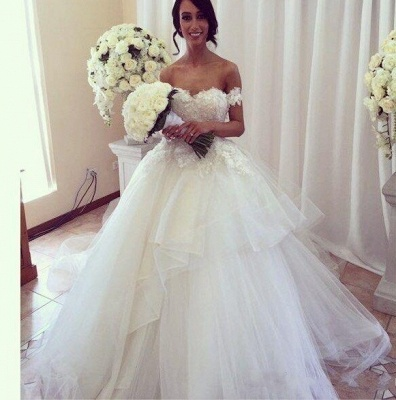 Charming Wedding Dresses  Off The Shoulder Tulle Appliques  Bridal Gowns_2