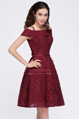 A-Line Lace Simple Burgundy Off-the-Shoulder Homecoming Dress_4