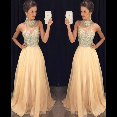 Sparkly Crystals Prom Dresses  Long Chiffon Hater Evening Gowns BA4580_2