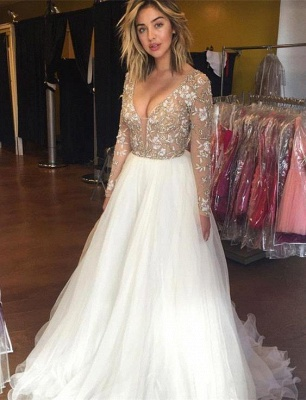 Latest Long Sleeve Beading Prom Dresses Sexy Lace Applique  Evening Gowns_1