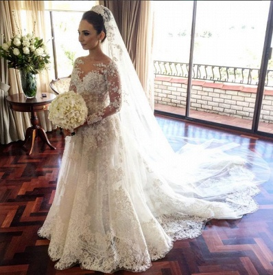 Classic Lace A Line Wedding Dress  Long Sleeve with Flowers Custom Made Wedding Gowns BA3455_3