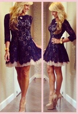 New Arrival Cocktail Dresses Full Lace A-line Short Mini Homecoming Dresses_1
