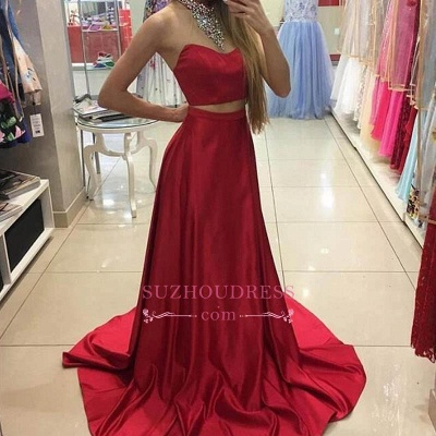 Long Sleeveless Red Two Piece Prom Dresses  Crystals High Neck Evening Gowns_1