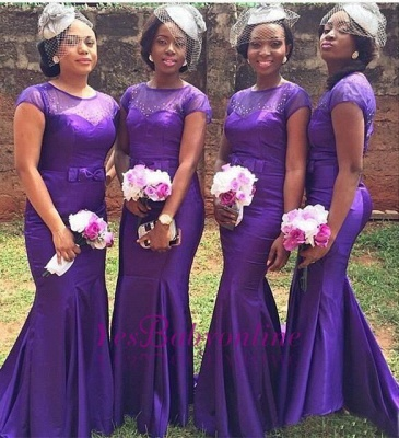 Mermaid Beadings Purple Bow Short Sleeves Popular Bridesmaid Dresses_1