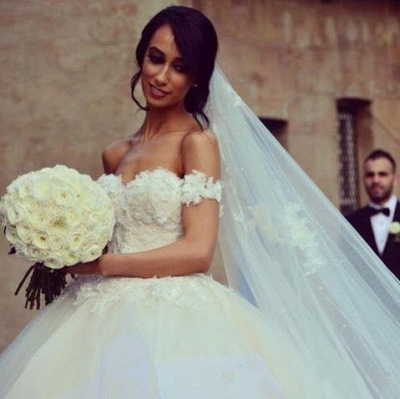 Charming Wedding Dresses  Off The Shoulder Tulle Appliques  Bridal Gowns_3