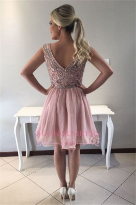 Pink Short Sleeveless Homecoming Dress |  A-line Crystal Cocktail Dresses_1