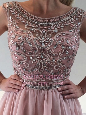 Pink Short Sleeveless Homecoming Dress |  A-line Crystal Cocktail Dresses_3