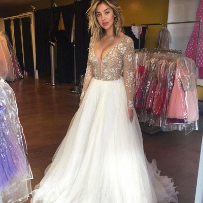 Latest Long Sleeve Beading Prom Dresses Sexy Lace Applique  Evening Gowns_3