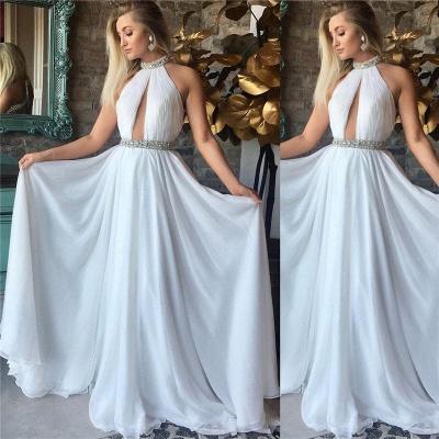 High Neck Sleeveless Chiffon Evening Dresses  | Open Back Beads Sexy Prom Dresses 2019_3