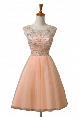 A-Line Cute Tulle Crystal Beading Short Homecoming Dress_5